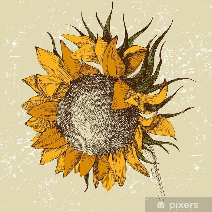 Afwasbaar Fotobehang Handgetekende zonnebloem - Thema's