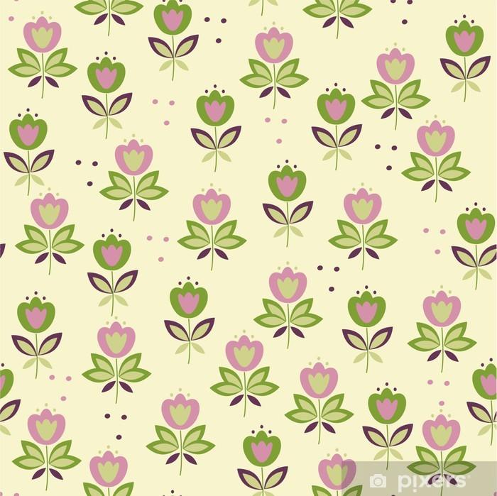 Poster Kleurrijke kindje bloemen naadloos klomp - Achtergrond