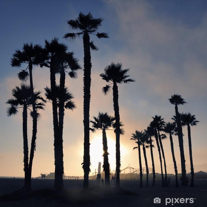 Sticker Pixerstick Coucher de soleil et de palmiers, plage de Santa Monica, Los Angeles, États-Unis - Thèmes