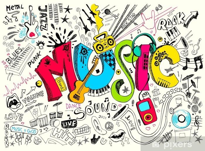Carta da Parati in Vinile Musica Doodle - Hip Hop