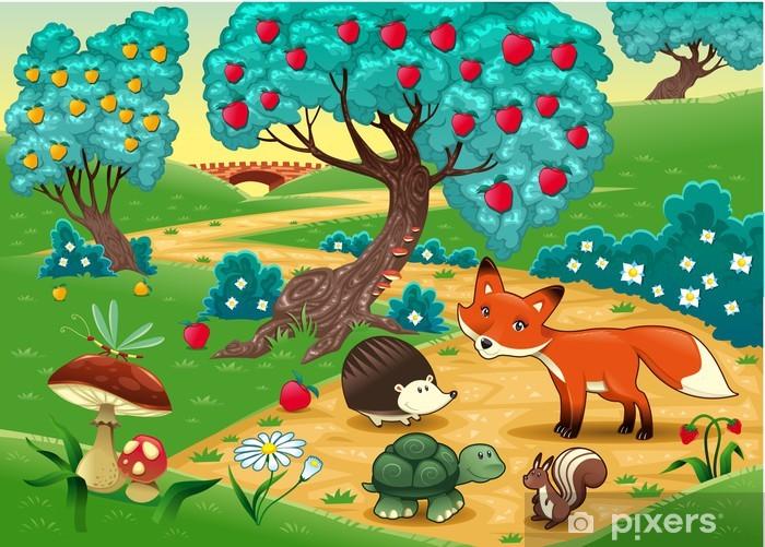 Papier peint vinyle Les animaux dans le bois. Illustration vectorielle de dessin animé - Pour enfant de 5 ans