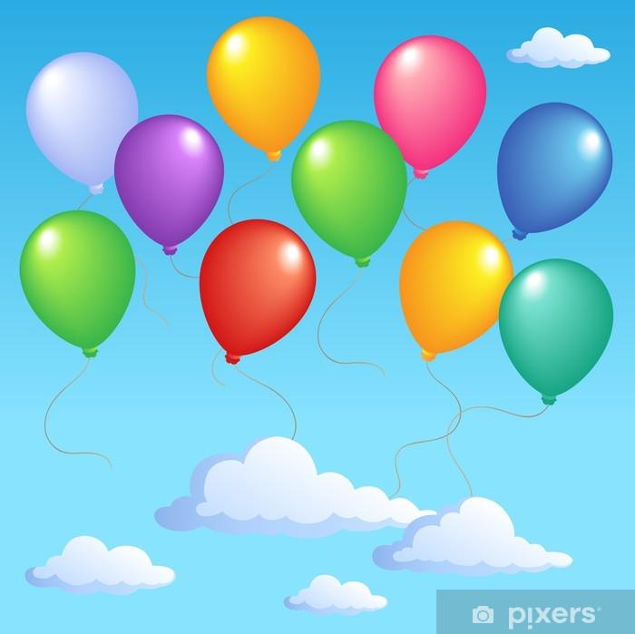 Sticker Pixerstick Ciel bleu avec des ballons gonflables 1 - Jeux