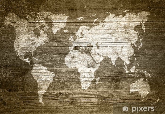 Pixerstick Sticker Grunge Wood - World Map - Thema's
