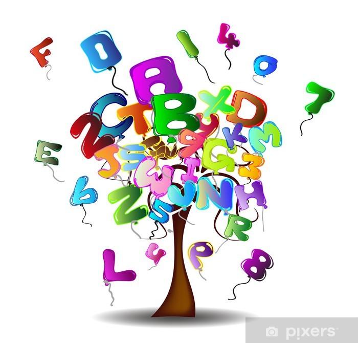 Plakat Drzewo z balonów w kształcie liter i cyfr - Edukacja