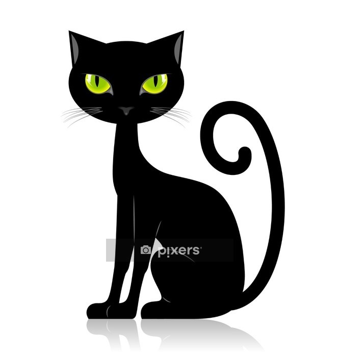 Muursticker Black cat -