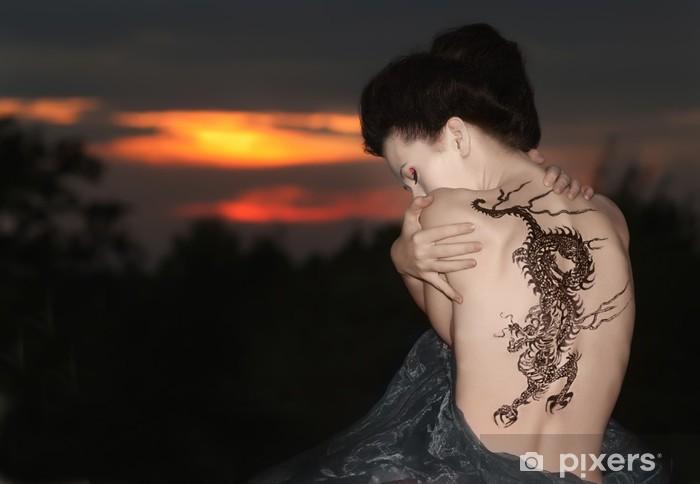 Geisha with dragon tattoo Pixerstick Sticker - Tattoos