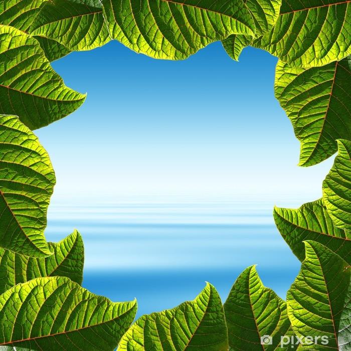 Poster Ciel bleu et mer tropicale dans un cadre quelques feuilles fraîches » - Eau