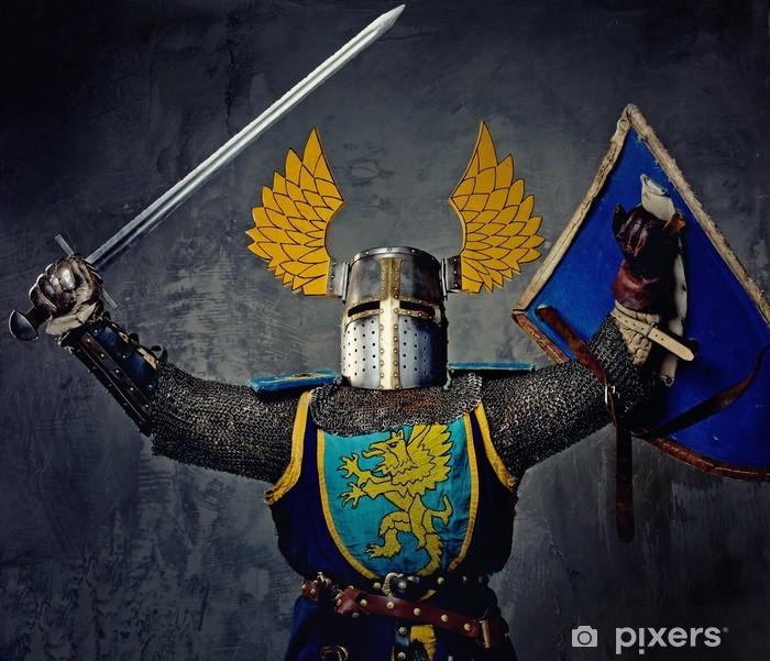 Poster Mittelalterliche Ritter auf grauem Hintergrund. - Männer