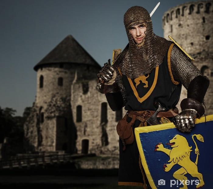 Fotomural Estándar Knight contra el castillo medieval. - Caballeros