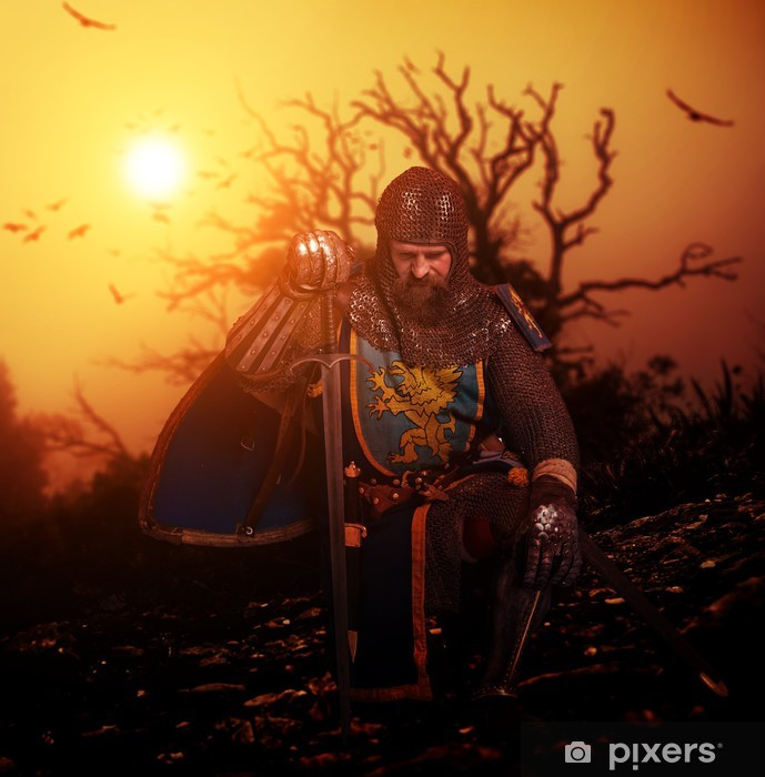 Adesivo Pixerstick Cavaliere medievale sul suo ginocchio. - Cavalieri