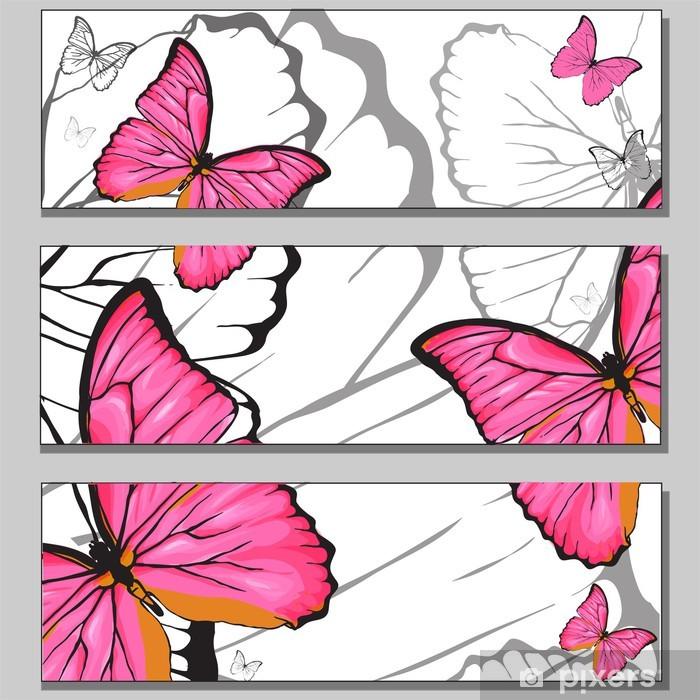 Nálepka Pixerstick Růžová Buterfly banery set - Pozadí