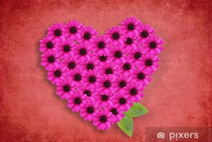 Naklejka Pixerstick Serce z kwiatami na czerwonym tle - Szczęście