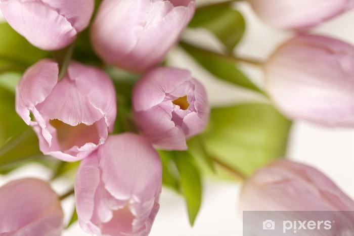 Papier peint vinyle Tulipes roses dans le vase - Fleurs