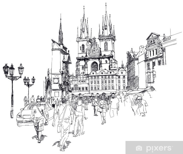 Old Town Square, Prague, Czech Republic - a vector sketch Vinyl Wall Mural - Prague
