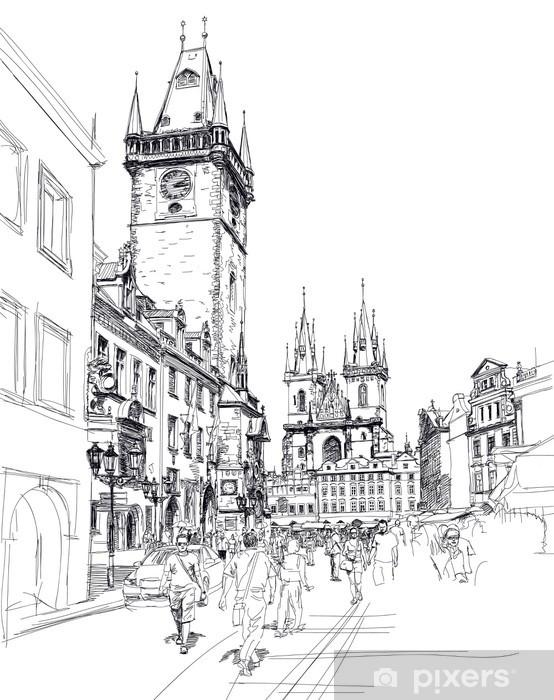 Vinyl Fotobehang Old Town Square, Praag, Tsjechië - een vector schets - Praag
