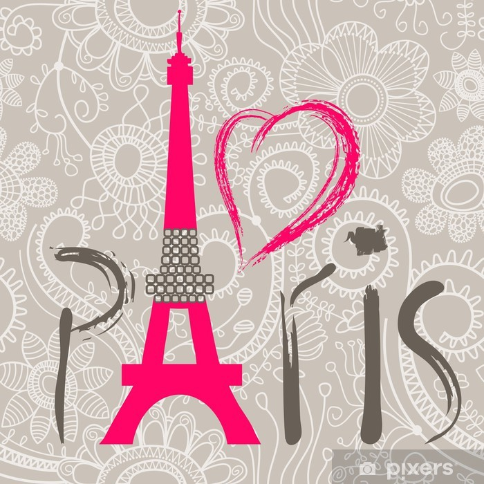 Adesivo Pixerstick Lettering Parigi oltre pizzo seamless pattern - Temi