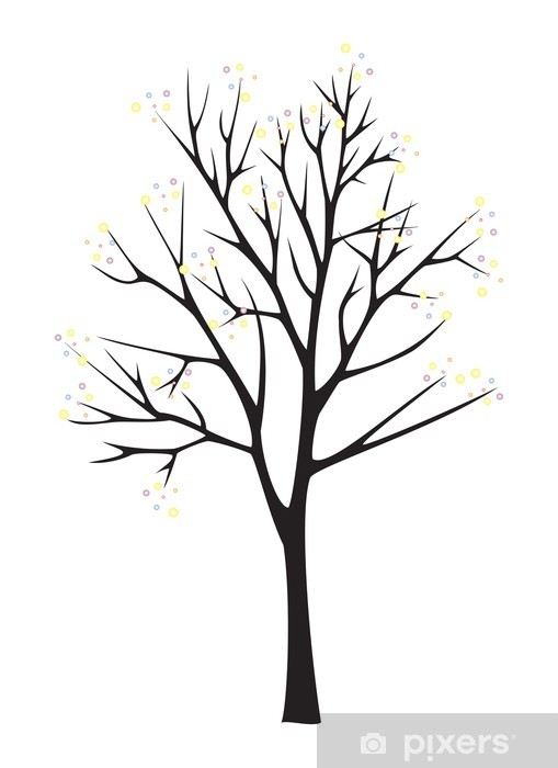 Black Tree Silhouette On White Background Wall Mural