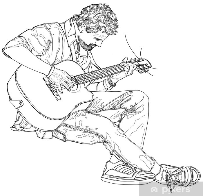 Papier peint vinyle L'homme joue de la musique à la guitare acoustique - Jazz