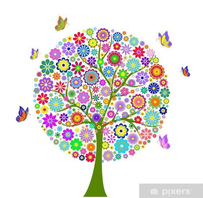 Fototapeta winylowa Kolorowe drzewa kwiat samodzielnie na białym tle - Naklejki na ścianę