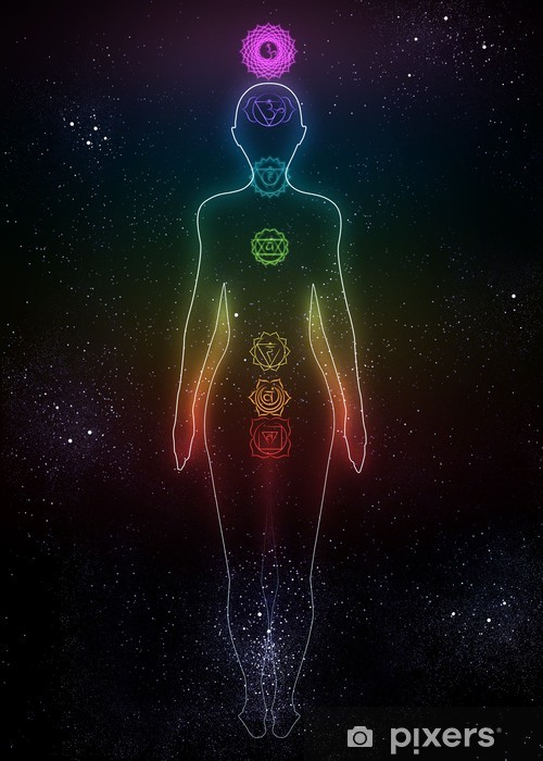 Vinilo Pixerstick Sistema de chakras humanos en el fondo del espacio - Señales y símbolos