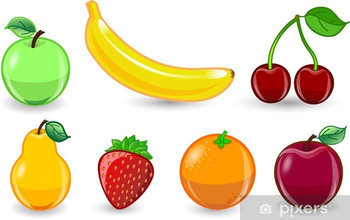 Fototapeta winylowa Cartoon pomarańcza, banan, jabłko, truskawki, gruszki, wiśnie - Owoce