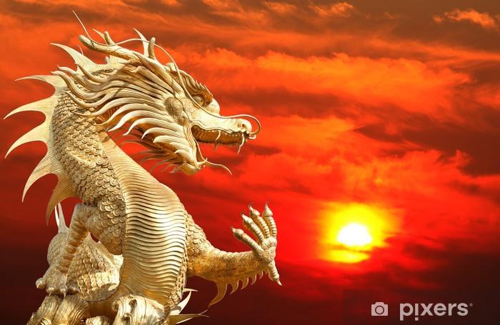 Papier peint vinyle Golden Giant Dragon chinois - Thèmes