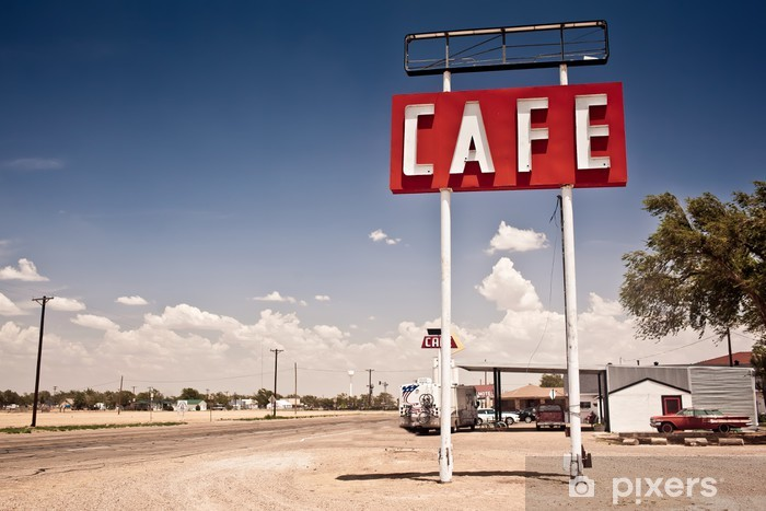 Pixerstick Sticker Cafe bord langs historische Route 66 in Texas. - Stijlen