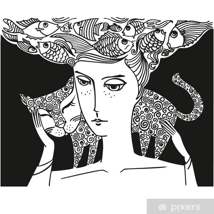 Pixerstick Sticker Meisje met kat - Thema's
