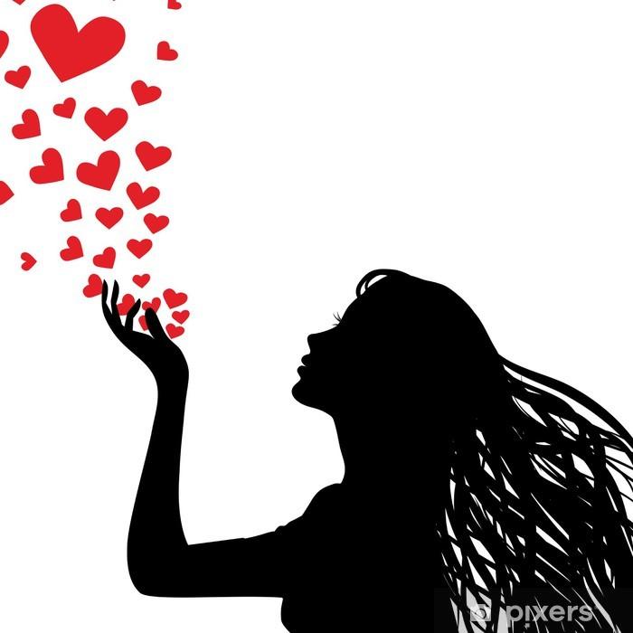 Naklejka Pixerstick Sylwetka kobieta dmuchanie serce - Naklejki na ścianę