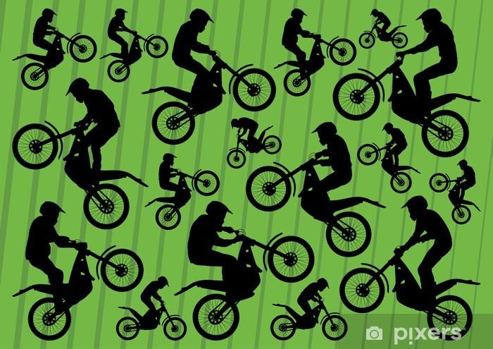 Naklejka Pixerstick Motocross motocykle zbiór ilustracji tła - Tła