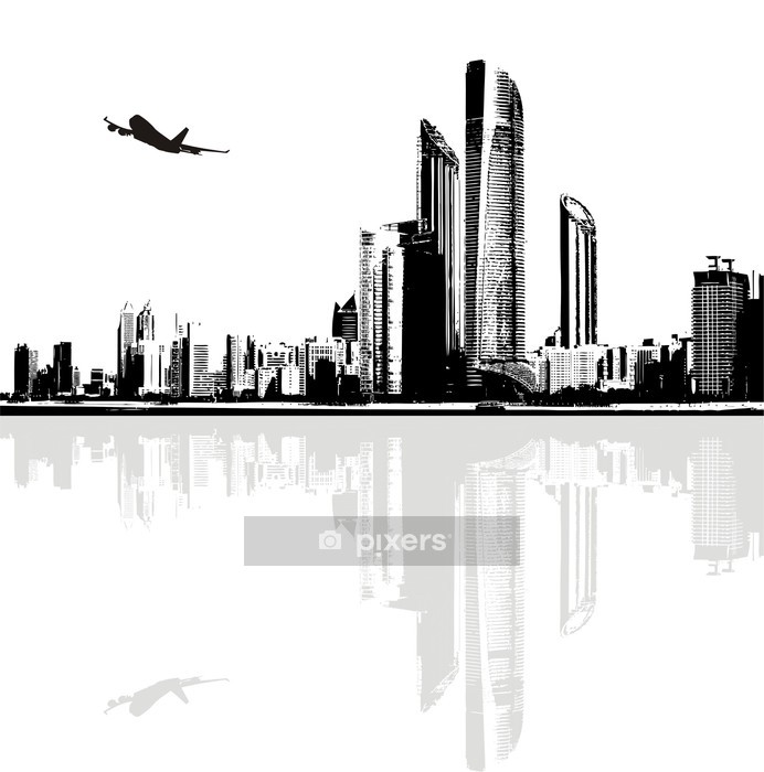 Black and white panorama of city buildings Wall Decal -