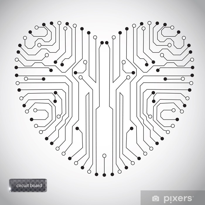 circuit board with in heart shape pattern wall mural pixers we Google Heart Diagram circuit board with in heart shape pattern vinyl wall mural happiness