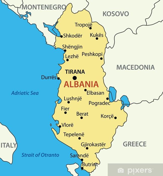 Tasavalta Albania Vektori Kartta Pixerstick Tarra Pixers