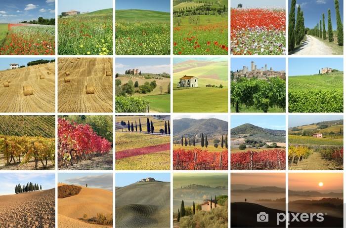 Carta Da Parati Con Paesaggi.Carta Da Parati Collage Con Paesaggio Fantastico Della Toscana