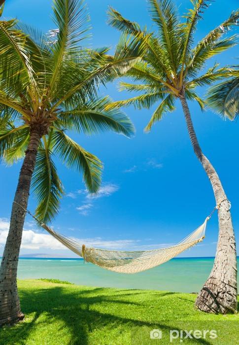 Fototapeta winylowa Tropikalne palmy i hamak - Palmy