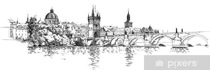Fotomural Estándar Panorama de Praga. Vista del puente de Carlos y el río Vltava. - Praga