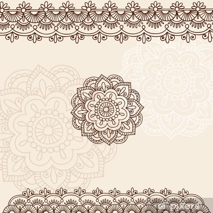 Sticker Pixerstick Henna Mehndi Mandala Fleur et Vector Border Doodle - Thèmes