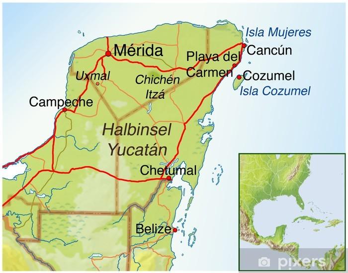 Landkarte Von Mexiko Halbinsel Yucatan Wall Mural Pixers We