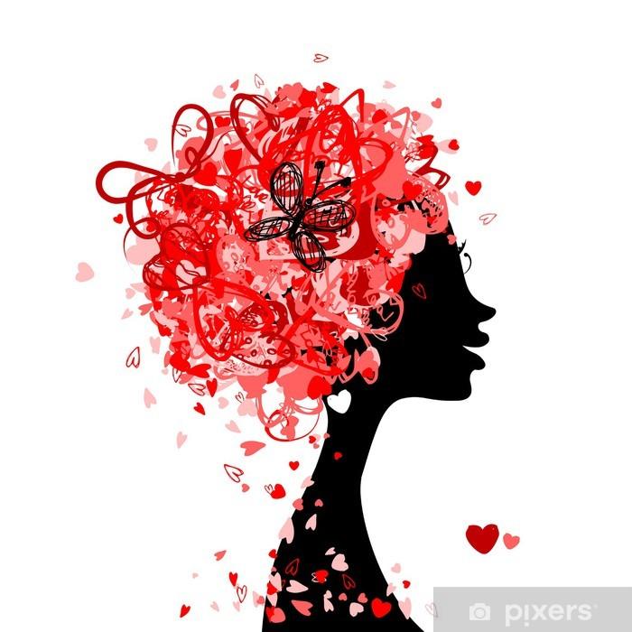 Fototapeta winylowa Kobieta głowy fryzury wykonane z małych serc dla projektu - Kobiety