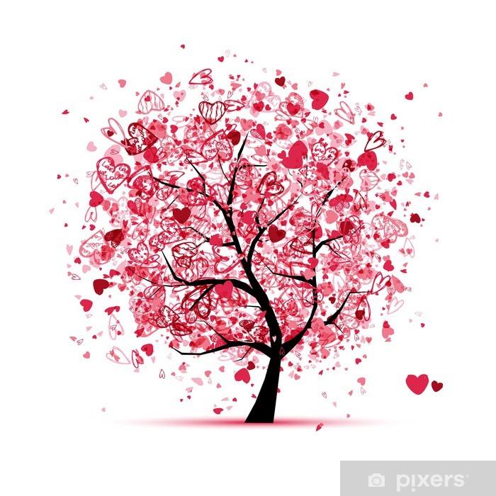 Naklejka Pixerstick Valentine drzewa z serca dla swojego projektu - Święta międzynarodowe