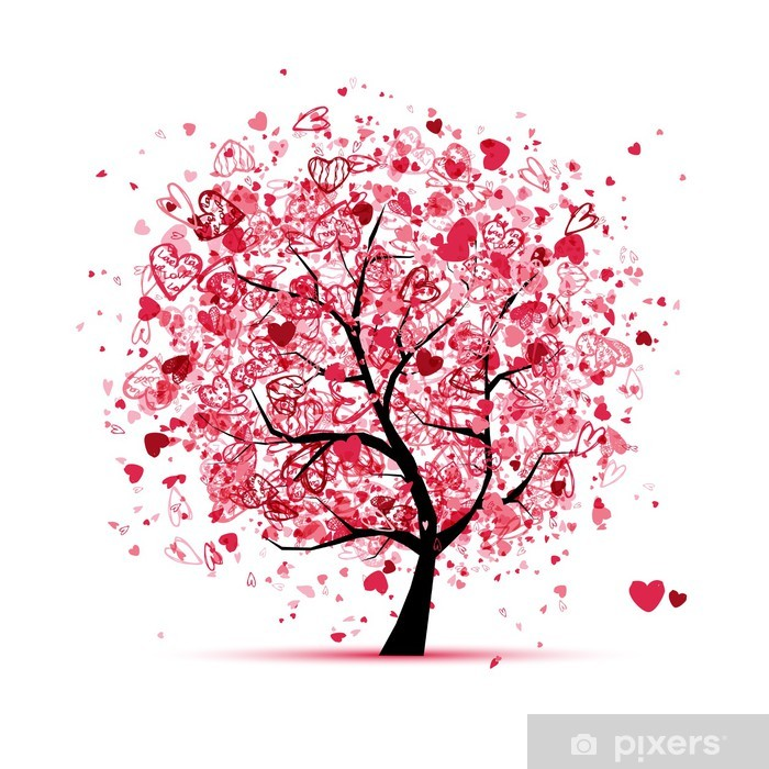 Papier peint vinyle Arbre de Valentine avec des coeurs pour votre conception - Fêtes internationales