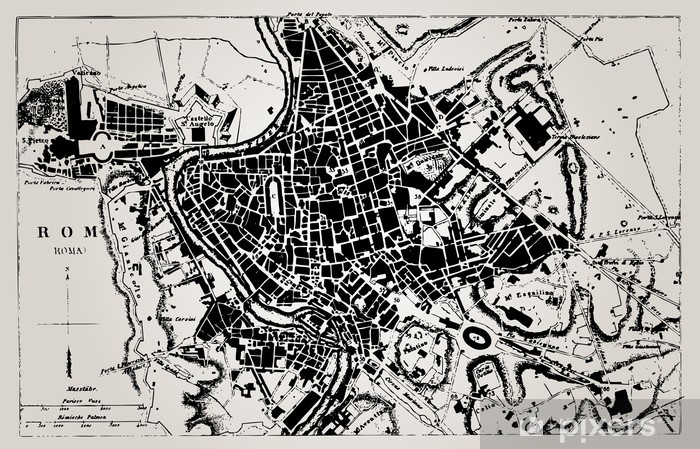 Fototapet Historisk Karta Over Rom Italien Pixers Vi Lever