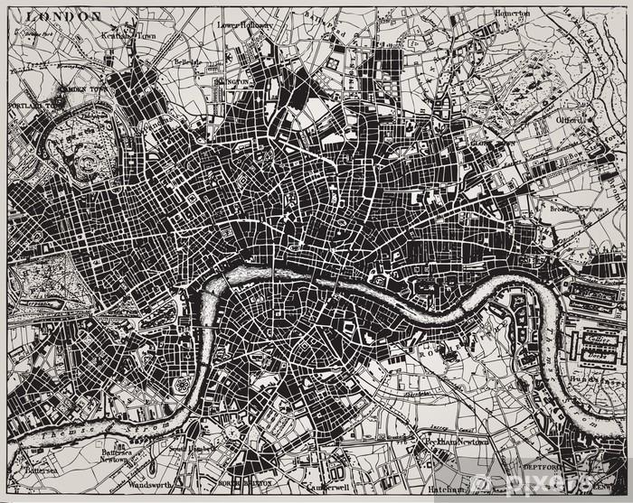 Fototapeta winylowa Historyczne mapy Londyn, Anglia. - Tematy