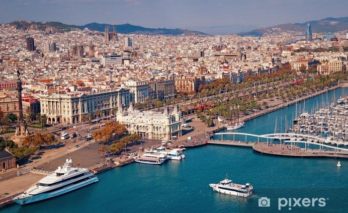 Sticker Pixerstick Barcelone horizon, la Sagrada Familia et Torre Agbar sont visibles. - Thèmes