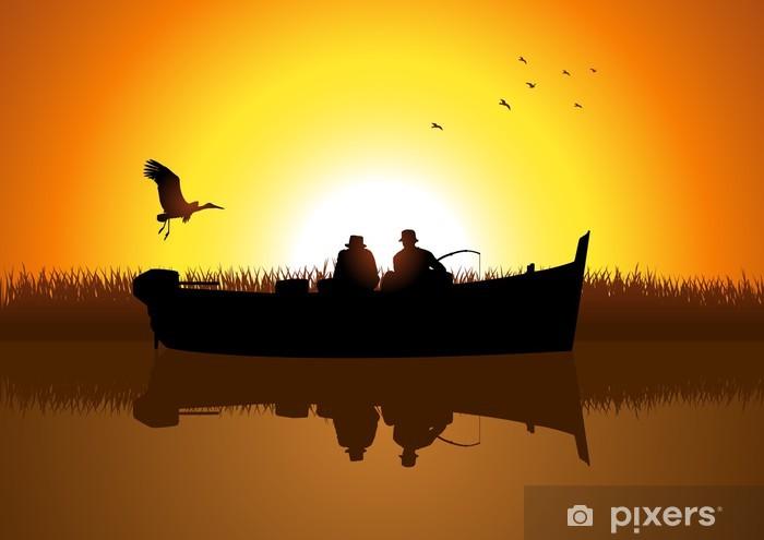 Vinyl Fotobehang Vector illustratie van twee mannen silhouet vissen op het meer - Buitensport