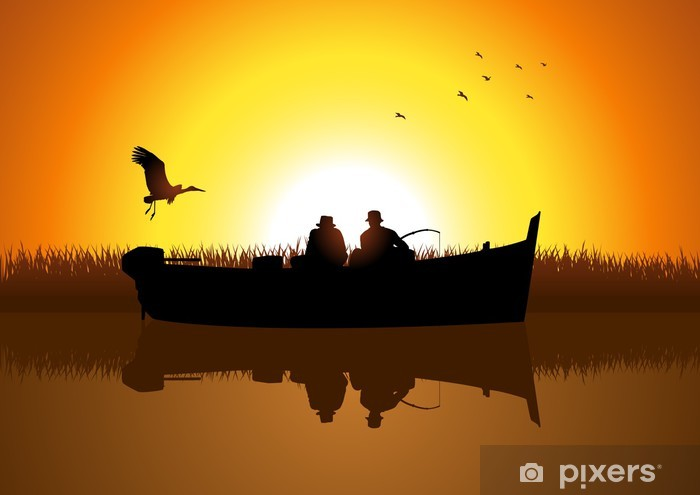 Vector illustration of two men silhouette fishing on the lake Vinyl Wall Mural - Outdoor Sports