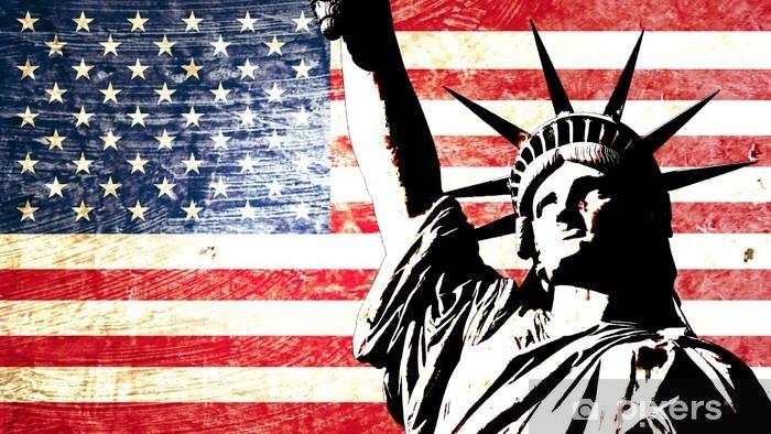 Afwasbaar Fotobehang Usa vlag standbeeld van vrijheid -