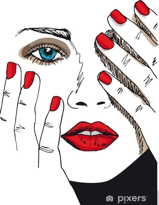 Naklejka Pixerstick Szkic pięknej twarzy kobiety. ilustracji wektorowych - Moda