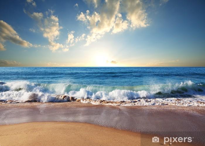 Vinyl Fotobehang Zonsondergang op het strand - Natuur