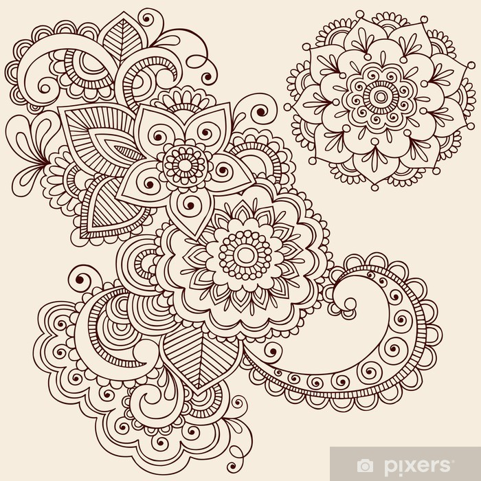 Henna Tattoo Abstract Paisley Flower Doodles Vector Vinyl Wall Mural - Themes